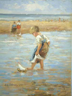 Boy With Sailboat by Hendrick B. Slotman