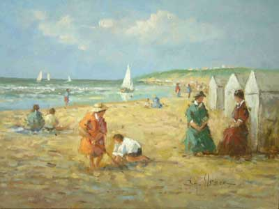 Family at the Beach by Hendrick B. Slotman