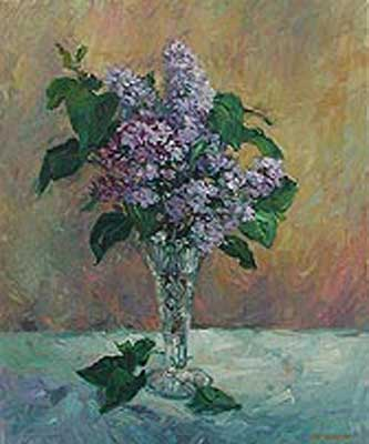 Lilacs in a Crystal Vase by Lisa Palombo