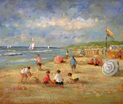 Beach Scene w/Blue & White Umbrella by Hendrick B. Slotman