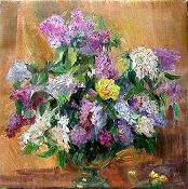 Lilacs on Brown by Nina Mikhailenko
