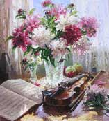 Peonies and Violin by Barbara Jaskiewicz